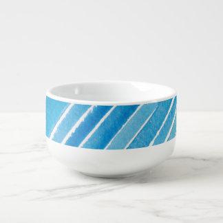 Aqua Watercolor Stripes Soup Bowl With Handle