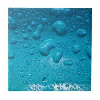 Aqua Waterdrops on Glass:- Ceramic Tile