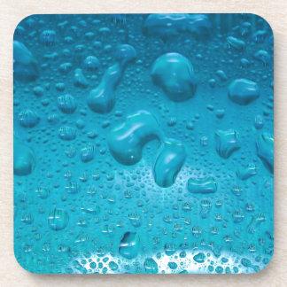 Aqua Waterdrops on Glass:- Coaster