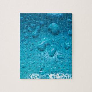 Aqua Waterdrops on Glass:- Jigsaw Puzzle