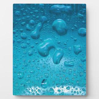 Aqua Waterdrops on Glass:- Plaque