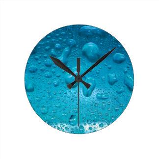 Aqua Waterdrops on Glass:- Round Clock
