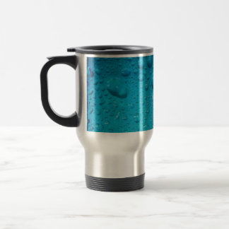 Aqua Waterdrops on Glass:- Travel Mug
