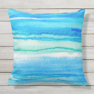 Aqua Waves Acrylic Watercolor Abstract Pillow