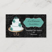 Cake maker business cards bakers business cards mgdezigns aqua wedding cake makers business cards reheart Image collections