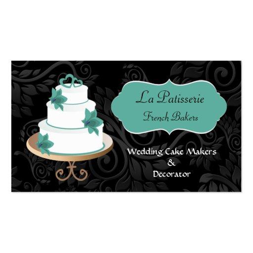 Wedding cake business business card templates page3 bizcardstudio aqua wedding cake makers business cards reheart Choice Image