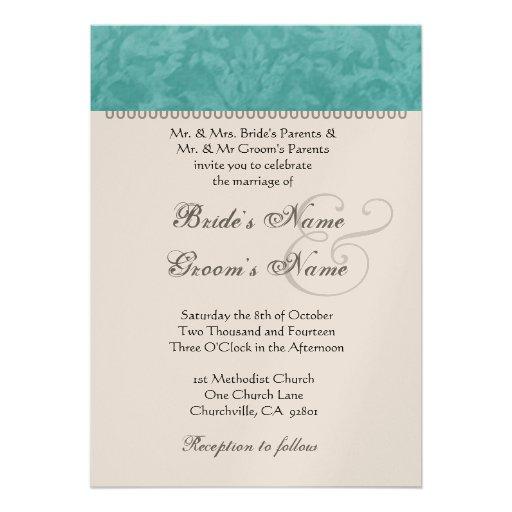Aqua Wedding Damask Champagne Metallic Paper Custom Invitation