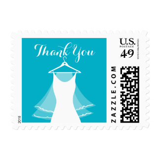 Aqua wedding dress bridal shower thank you stamps