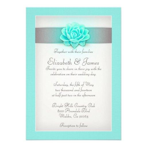 Aqua Wedding Invitations 5 X 7 Invitation Card