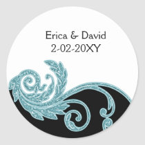 aqua wedding label