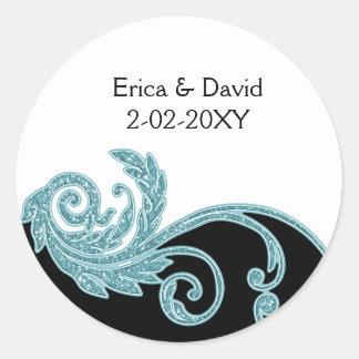 aqua wedding label sticker