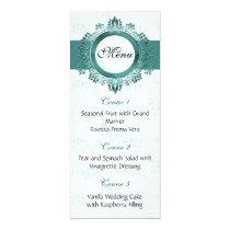 aqua wedding menu card