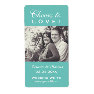 Aqua Wedding Photo Wine Bottle Favor Labels
