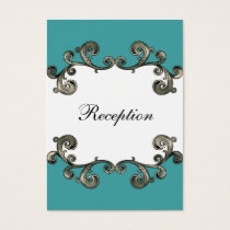 aqua wedding Reception Cards