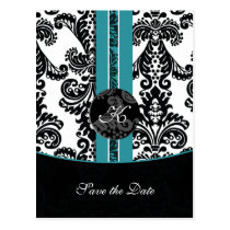 aqua wedding Save the Date Postcard