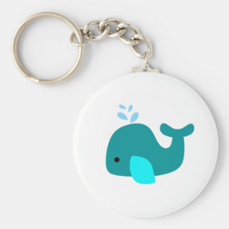 Aqua Whale Basic Round Button Keychain