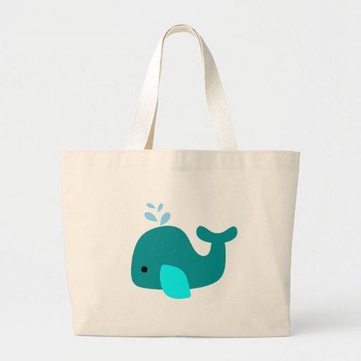 Aqua Whale Canvas Bags