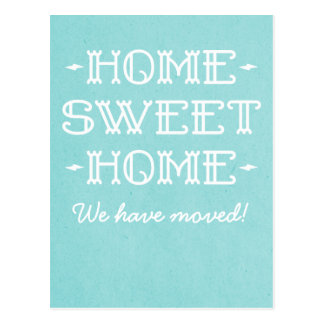 Aqua Whimsical Home Sweet Home Postcard