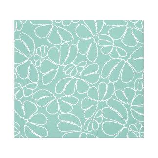 Aqua Whimsical Ikat Floral Petal Doodle Pattern Canvas Print
