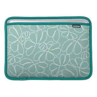 Aqua Whimsical Ikat Floral Petal Doodle Pattern MacBook Air Sleeves