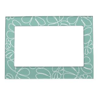 Aqua Whimsical Ikat Floral Petal Doodle Pattern Magnetic Frame