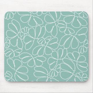 Aqua Whimsical Ikat Floral Petal Doodle Pattern Mouse Pad