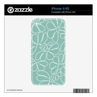 Aqua Whimsical Ikat Floral Petal Doodle Pattern Skins For iPhone 4S