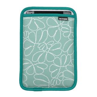 Aqua Whimsical Ikat Floral Petal Doodle Pattern Sleeve For iPad Mini