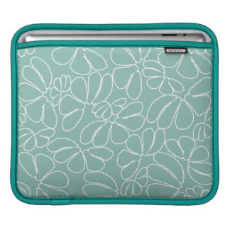 Aqua Whimsical Ikat Floral Petal Doodle Pattern Sleeves For iPads
