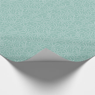 Aqua Whimsical Ikat Floral Petal Doodle Pattern Gift Wrapping Paper