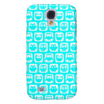 Aqua Whimsical Owl Pattern Galaxy S4 Cover