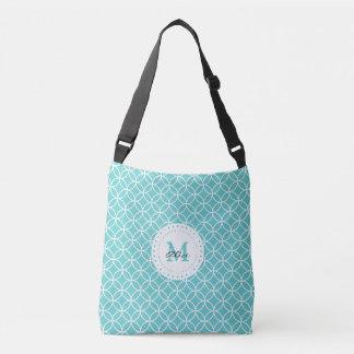 Aqua White Abstract Circles and Diamonds Pattern Crossbody Bag