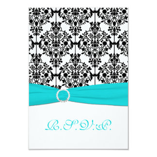 Aqua, White and Black Damask Reply Card 2