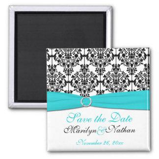Aqua, White, and Black Damask Wedding Favor Magnet