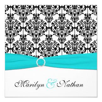 Aqua, White and Black Damask Wedding Invitation