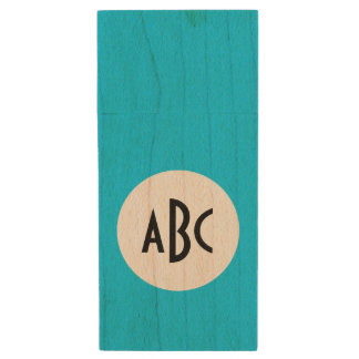 Aqua White and Black Monogram Wood USB 2.0 Flash Drive