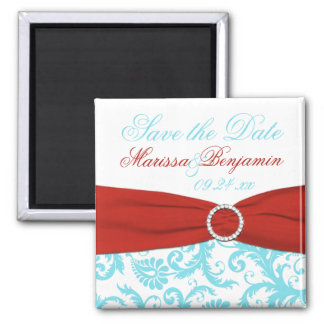 Aqua, White, and Red Damask Save the Date Magnet