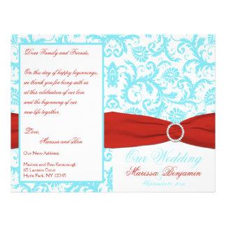 Aqua, White, and Red Damask Wedding Program