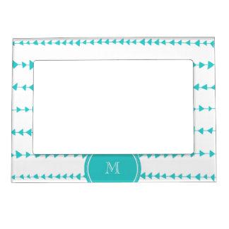 Aqua White Aztec Arrows Monogram Magnetic Frame