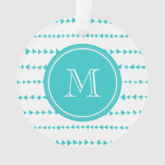 Aqua White Aztec Arrows Monogram Ornament