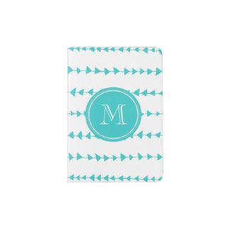 Aqua White Aztec Arrows Monogram Passport Holder