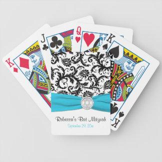 Aqua White Black Damask Bat Mitzvah Playing Cards