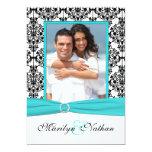 Aqua, White, Black Damask II Photo Wedding Invite