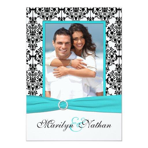 "Aqua, White, Black Damask II Photo Wedding Invite 5"" X 7"" Invitation Card"