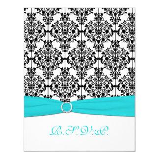 Aqua, White, Black Damask II RSVP Card
