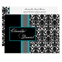 Aqua White Black Damask Wedding Invitations