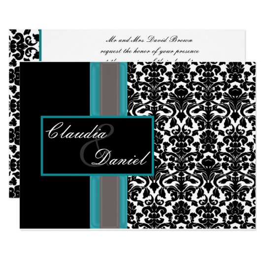 Aqua White Black Damask Wedding Invitations