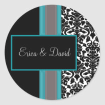Aqua White Black Damask Wedding Invitations Classic Round Sticker