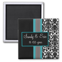 Aqua White Black Damask Wedding Invitations Magnet