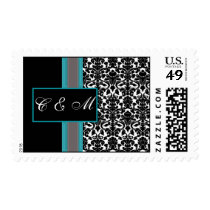 Aqua White Black Damask Wedding Invitations Postage